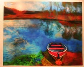 Many days dawning , 16x20 inches, art, photography, nature, boats, Michigan lakes, Michigan art, fishing boat, Lake house decor