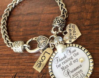 Mother of the GROOM gift, charm bracelet, man of my dreams, wedding keepsake, CUSTOM gift, Today a Groom Tomorrow a Husband Forever your son