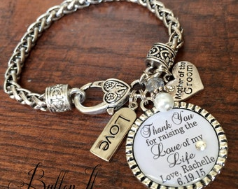 Mother of the GROOM bracelet, Mother of the BRIDE gift, Personalized wedding, Love of my life, wedding keepsake CUSTOM gift  mother in law