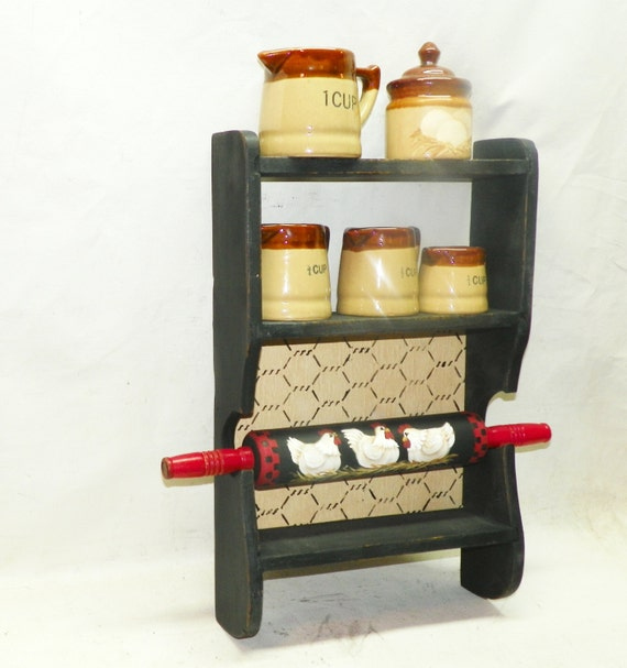 Items similar to rolling pin holder shelf kitchen decor for Kitchen decor items