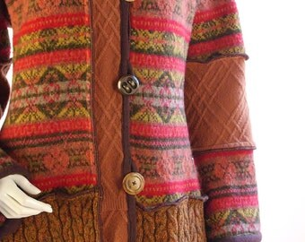 Autumn Colored Sweater Coat, Rust, Olive and Gold, Size Medium/Large
