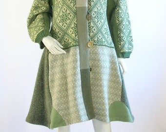 Women's Upcycled Sweater Coat/ Cream and Green/ Size Medium/ 10/12