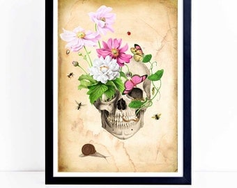 Halloween print, skull, Gothic, day of the dead, vintage style home decor, A4 giclee