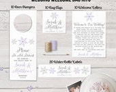Wedding Welcome Bag Kits, Snowflake Wedding, Winter Wedding, Wedding Door Hangers, Wedding Water Bottle Labels, Welcome Letters, Bag Tag
