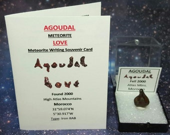 AGOUDAL (Imichil) Meteorite And (Agoudal LOVE Meteorite Writing) Souvenir Card Natural Iron Outer Space Rock Meteorite Found 2000 Morocco