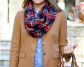 Multicolor Scarf - Red Flannel Scarf - Red Infinity Scarf - Extra Long Scarf - Winter Scarf - Women's Scarf