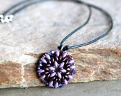 Purple SuperDuo Beaded Mandala Pendant Necklace, Bead Woven Circle Pendant, Black Leather Cord Pendant Necklace, Mandala Necklace