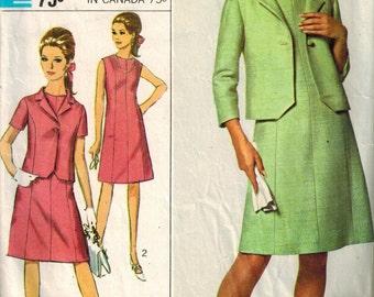 1966 Simplicity 6922 Retro Mod Dress Sewing Pattern Vintage Size 14 skirt suit blazer