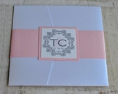 Pocket Fold Wedding Invitation Design Fee (Silver and Pink Palm Beach Design)