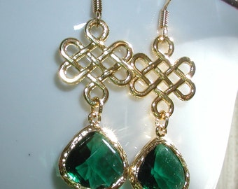 Emerald Green Dangles Earrings with Irish Knot, birthday, wedding,