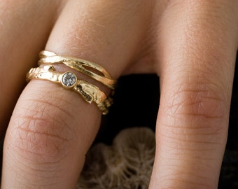 14k Gold Diamond Branch and Twist Set | Stacking Rings | Handmade Rings