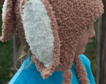 Tan Bunny Rabbit Hat with Earflaps for 3 - 6 year olds