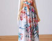 Maxi dress in orchid print cotton - for SD Delf BJD dolls