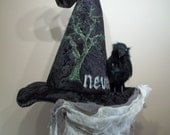 Witch Hat Halloween Edgar Allan Poe Crow Raven Costume Cosplay Custom Couture Millinery Nevermore Tree of Life Spider web