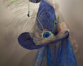 Witch Hat Made to Order Halloween Costume Accessory Cosplay Millinery Blue velvet Peacock Tulle