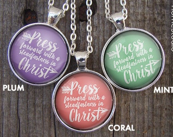 Necklaces : (Classic Arrow) Press Forward with a steadfastness in Christ, 2016 mutual theme, new beginnings, young women, mormon, christian