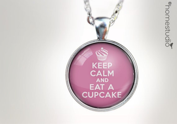 Keep Calm Cupcake : Glass Dome Necklace gift present by HomeStudio. Round art photo pendant jewelry. Available as Key Ring Keychain
