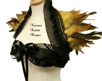 Double Edged Lace Shrug Feather Stole Victorian Gothic Black Gold Vampire Queen Collar Glamour Accessory Handmade Victorian Scarlett Designs