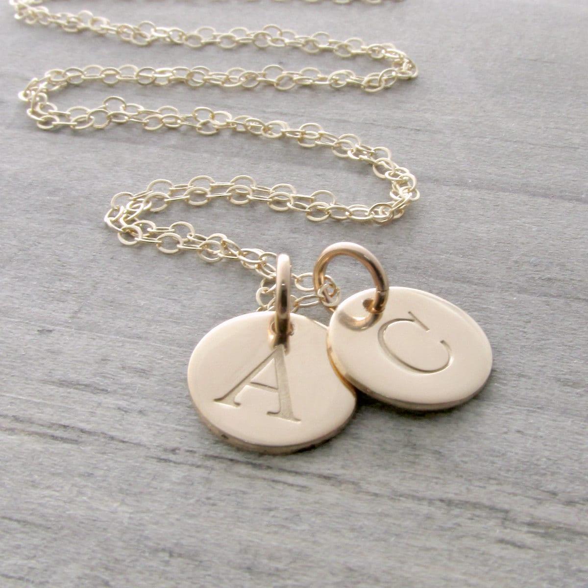 solid gold initial necklace gold necklace gold pendant. Black Bedroom Furniture Sets. Home Design Ideas