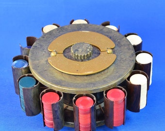 "Vintage Revolving Bakelite ""Turnit"" Poker Chip Carousel Carrier and Sahara Tahoe Casino Playing Cards"