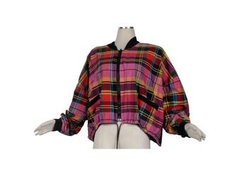 Vintage 80s Jacket - 80s Boxy Jacket - 80s Boyfriend Jacket - Plaid Jacket - Reversible Jacket - Pink Purple Black - India - XL -Madras