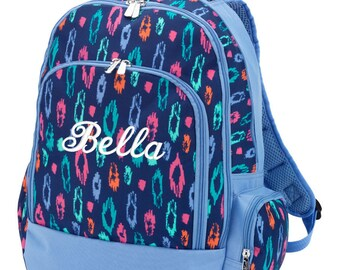 Monogrammed Backpack Leopard Cheetah Personalized School Bookbag Girls Laney