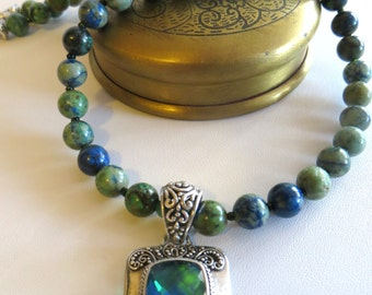 Chrysocolla Necklace With Mystic Topaz & Sterling Pendant