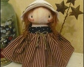 Americana girl standing 4th of July summer Doll low brow Whimsical goth primitive creepy cute country  decor Farm Quirky hafair ofg team