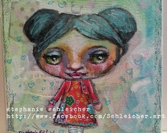Whimsical Girl 4in x4in Original Painting