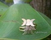 Triple Moon Goddess Ring in Brass