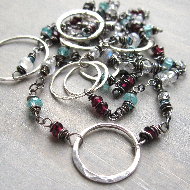 gemstone necklace garnet moonstone by amyfriendjewelry