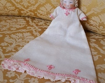 German Antique Bisque Baby Doll 2 3/4 Inches with Embroidered Christening Gown