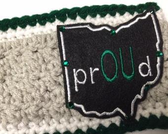 Women's // Ohio University // Crochet Headwrap // Headband //  Earwarmer// prOUd // Handmade
