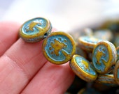 NEW! Tree Of Life - Czech Glass Beads, Opaque Ivory, Blue Picasso, Tree Coins 14mm - Pc 6