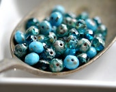 Caribbean Waters - Czech Glass Beads, Transparent Capri Blue, Opaque Baby Blue, Picasso, Firepolish, Facet Rondelle Mix 7x5mm - Pc 15