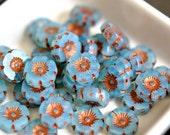 Blue Bells - Czech Glass Beads, Translucent Opalite Milky Aqua, Metallic Copper Wash, Hawaiian Flowers 12mm - Pc 6