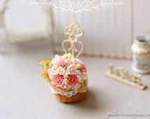 Dollhouse Miniature Plant - Pink Paris Bouquet in Hand Woven Basket
