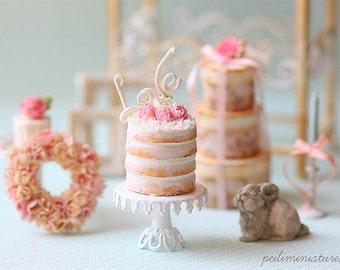 Dollhouse Miniature Food - Love Naked Cake