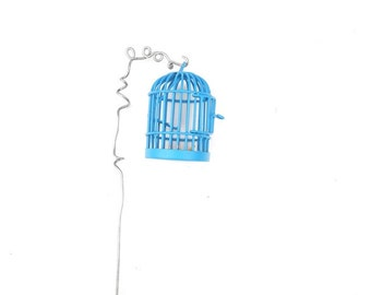 Tiny Fairy Garden Cage with Pretty Blue with Handmade Shepherd's for the Miniature Garden, Fairy Garden or Terrarium, Dollhouse Miniature