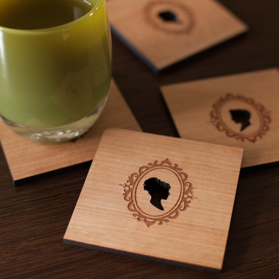 Wood coasters, Victorian Classic Cameo Silhouette set of 4 laser cut drink coasters by peppersprouts