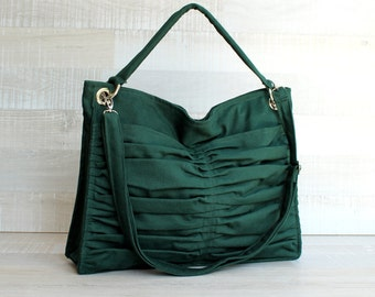 Euphoria in Emerald Green / Diaper Bag / Outside Pockets / Pleated Bag / Shoulder Bag / Travel Bag / Large / Cross Your Body / Pine Green