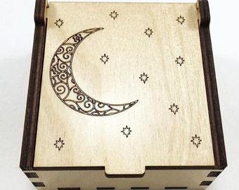 Moon and Stars Jewelry Box, Wood Trinket Box, Small Jewelry Case, Laser Cut Box, Jewelry Storage Box, Celestial Wood Box, Jewelry Organizer