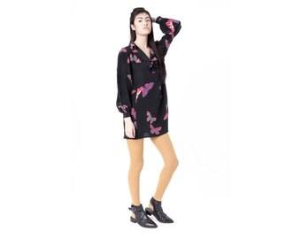 sale SILK dress BUTTERFLY print 90s Long sleeve mini Black vintage shift Hanae Mori / Small better stay together