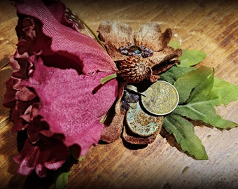 Lisianthus and Coins  -  ATS and Tribal Fusion Belly Dance Hair Clip