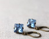 Vintage Glass Blue Earrings / Light Sapphire Blue / Petite Diamond Blue Earrings / Short Dangle Earrings / Wedding Jewelry / Bridal Party