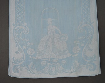 Vintage Lady Damask Guest Towel Lady in Ballgown Blue 21x14 inches 1940s 1950s Linen