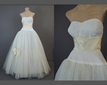 Vintage 1950s Wedding Gown 34 bust, Strapless Dress by Philip Hulitar, Full White Tulle Skirt & Ivory Silk Satin Trim, Princess
