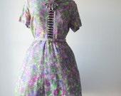 Monet dress | vintage 1950s dress |  impressionist 50s dress