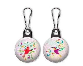 Hummingbird zipper pull.  Hummingbird charm.  Bird charm.