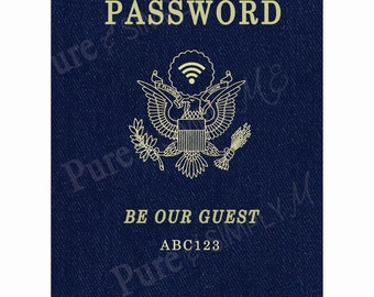 Wi-Fi Password - WiFi for Guests -  Wi-fi Sign - Digital Art - Printable - Passport